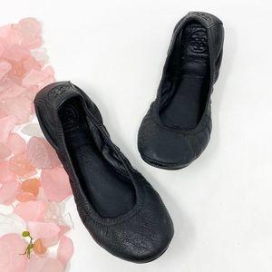 Tory Burch Eddie Lambskin Leather Flats Black 6.5